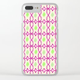 pink decor and leaves pattern Clear iPhone Case