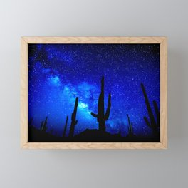 The Milky Way Blue Framed Mini Art Print