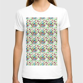 Bohemian modern pink blue green watercolor floral T-shirt