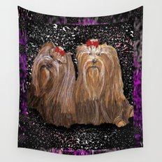 Yorkie Love in Black Wall Tapestry