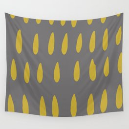 chartreuse rain drops on grey abstract pattern Wall Tapestry