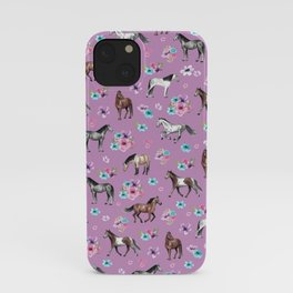 Purple Horse and Flower Print, Hand Drawn, Horse Illustration, Little Girls Decor iPhone Case