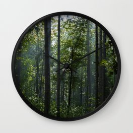 Green forest shrouded the sun. Wall Clock