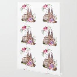 Barcelona Spain La Sagrada Familia Vintage Wallpaper