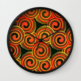 orange round abstract Wall Clock