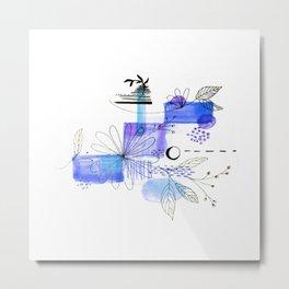 Navy Blue Simple Lines And Flowers Metal Print
