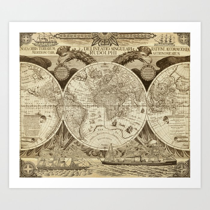Antique world map with sail ships, sepia Art Print