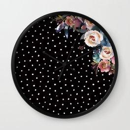 Boho Flowers and Polka Dots on Black Wall Clock