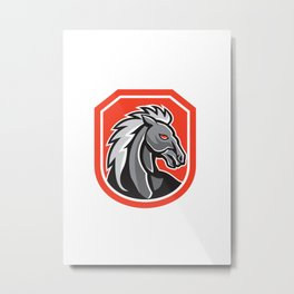 Horse Head Shield Retro Metal Print