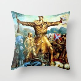 Classical Abolitionist Masterpiece by John Steuart Curry - Tragic Prelude  - John Brown. Throw Pillow