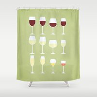 wine Shower Curtains featuring Wine by Sara Showalter
