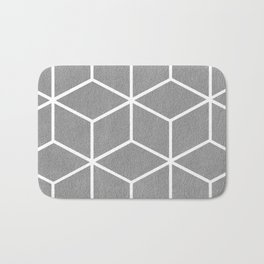 Light Grey and White - Geometric Textured Cube Design Bath Mat