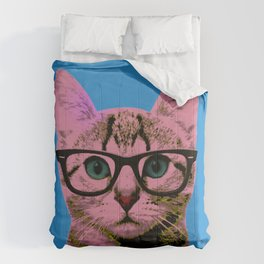 Geek Cat with Glasses Comforters