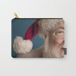 Santa Claus looking away isolated on blue Carry-All Pouch
