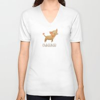 chihuahua V-neck T-shirts featuring Chihuahua by 52 Dogs