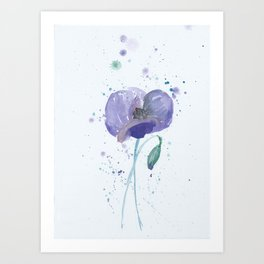Blue Poppy flower illustration painting in watercolor Art Print