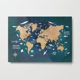World Map Oceans Life blue #map #world Metal Print