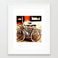 bikes Framed Art Prints featuring bikes by Eva Lesko