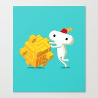 fez Canvas Prints featuring The Prince with a FEZ by MeleeNinja