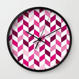 Pink Pattern Herringbone Design Wall Clock