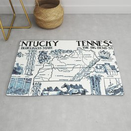 Vintage Illustrative Map of Kentucky & Tennessee (1912) Rug