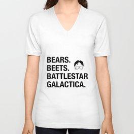 bears beets t-shirts Unisex V-Neck