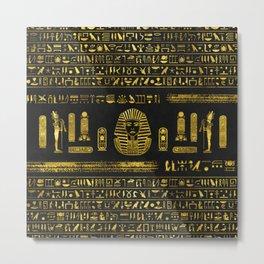 Golden Egyptian Sphinx on black leather Metal Print