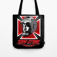 tony stark Tote Bags featuring Tony Stark by Ant Atomic