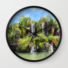 Waterfalls in Laie, Oahu Hawaii Wall Clock