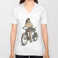 pinup V-neck T-shirts featuring Pinup bike by yumifuji