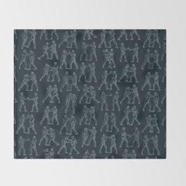 Round One STEEL BLUE / Vintage boxers Throw Blanket