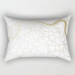White on Yellow Gold London Street Map Rectangular Pillow