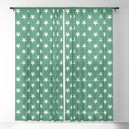 White on Cadmium Green Stars Sheer Curtain