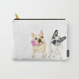 French Bulldogs adorable head tilt fawn and black and white frenchies must have gift for pet lovers Carry-All Pouch