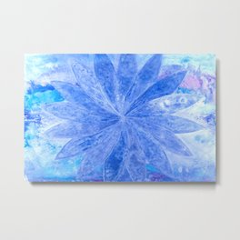 ABSTRACT BLUE DAISY Metal Print