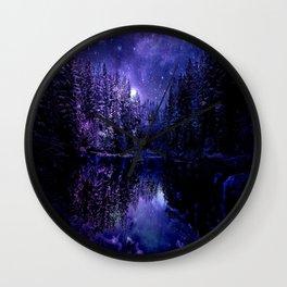 Winter Forest Deep Purple Indigo Blue Wall Clock