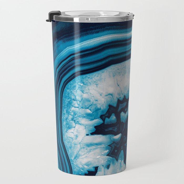 Blue White Agate #2 #gem #decor #art #society6 Travel Mug
