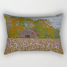 An Old Barn in a Cotton Field Rectangular Pillow