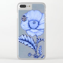 Poppy Anemone with Ladybug Clear iPhone Case