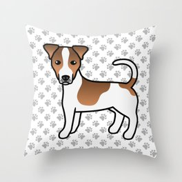 White And Tan Smooth Coat Jack Russell Terrier Dog Cute Cartoon Illustration Throw Pillow