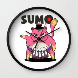 Sumo Wrestler Cat Yokozuna ネコ Neko Pink Wall Clock