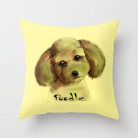poodle Throw Pillows featuring Poodle by Det Tidkun