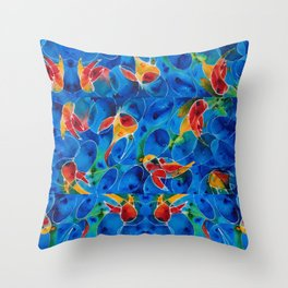 Koi Pond 2 - Liquid Fish Love Art Throw Pillow