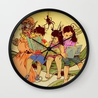 fairy tale Wall Clocks featuring Fairy Tale by Radical Ink by JP Valderrama