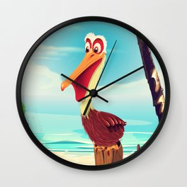 Vintage Pelican on the beach Wall Clock
