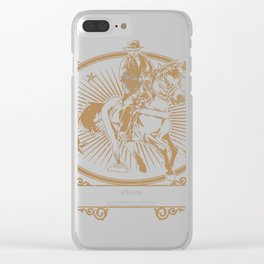 Illustration of cowboys riding horse Clear iPhone Case