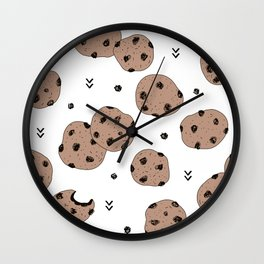 Chocolate chip cookie jar illustration pattern Wall Clock