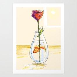 Goldfish and Rose Art Print