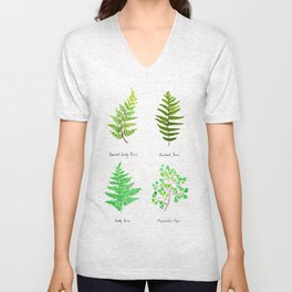 fern collection watercolor Unisex V-Neck
