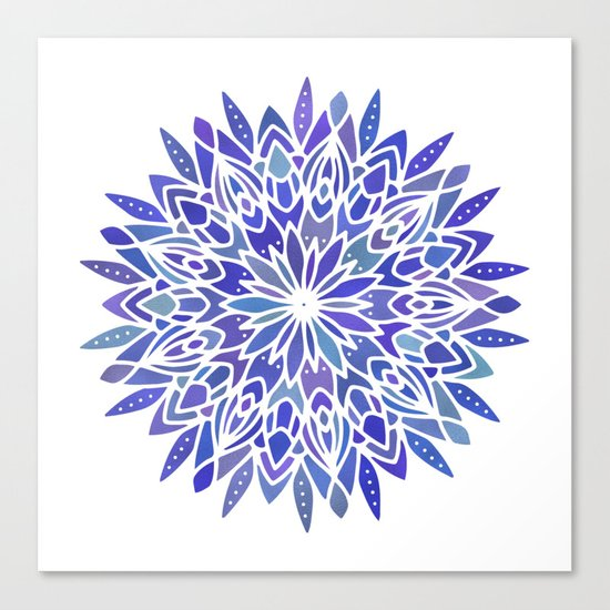 Mandala Vivid Blue Canvas Print